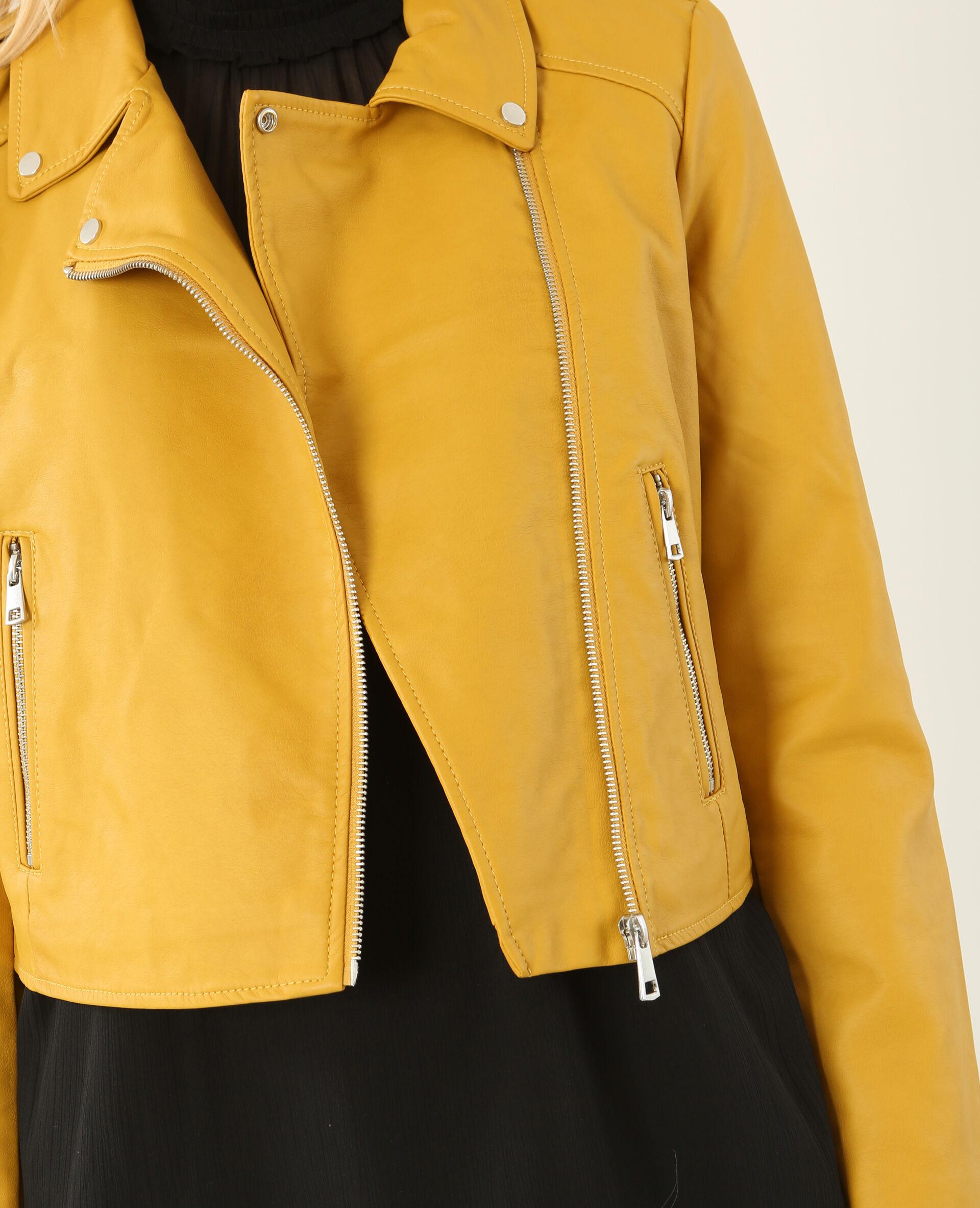 Veste femme simili cuir jaune
