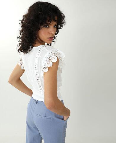 Geborduurde blouse gebroken wit - Pimkie
