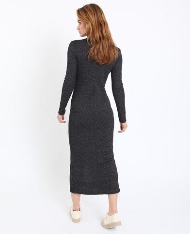 Lange jurk met rolkraag grijs