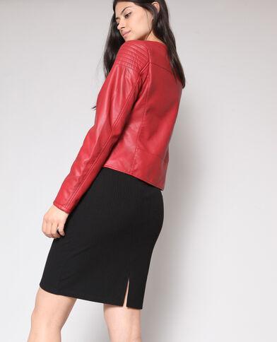 Veste en simili cuir rouge