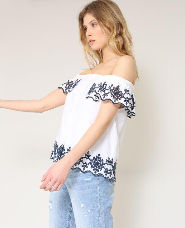 Shirt met borduursels wit