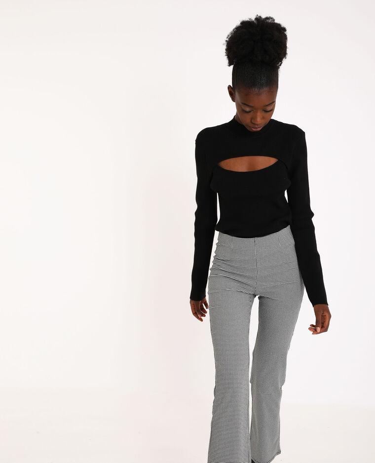Dunne opengewerkte trui zwart