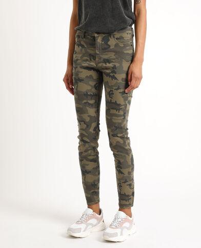 Skinny broek met camouflageprint groen