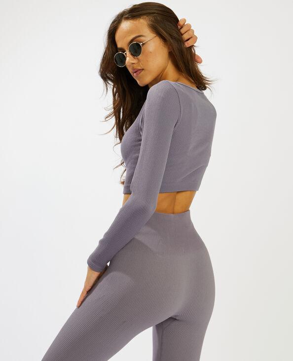 Crop top met ribbels violet - Pimkie