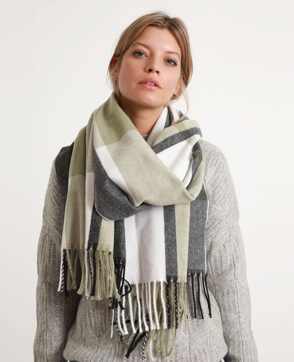 Sjaal met franjes kaki