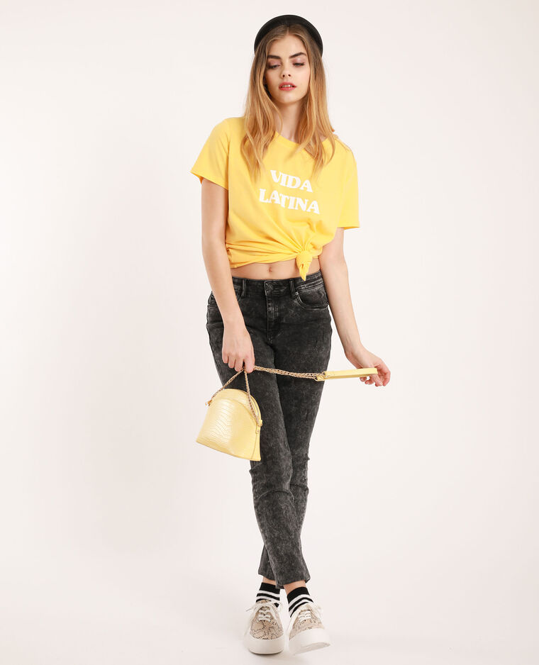 T-shirt met tekst geel