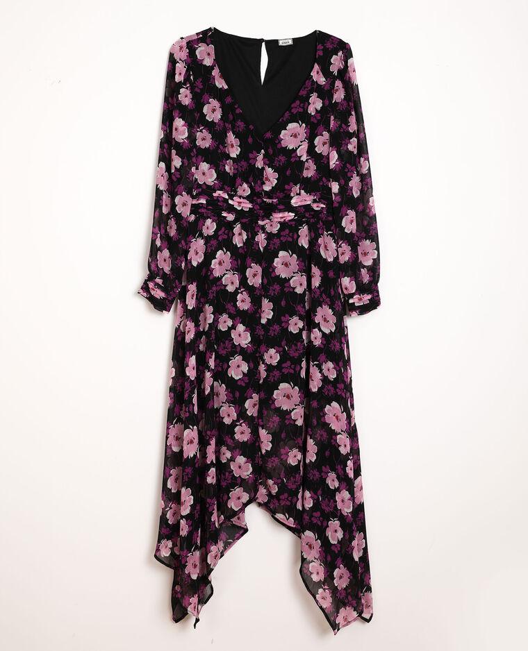 Jurk met bloemenprint zwart