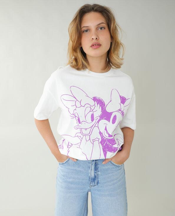 Ruimvallend T-shirt Minnie en Daisy gebroken wit - Pimkie