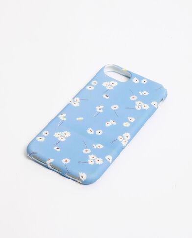 iPhone-hoesje met witte bloemen blauw