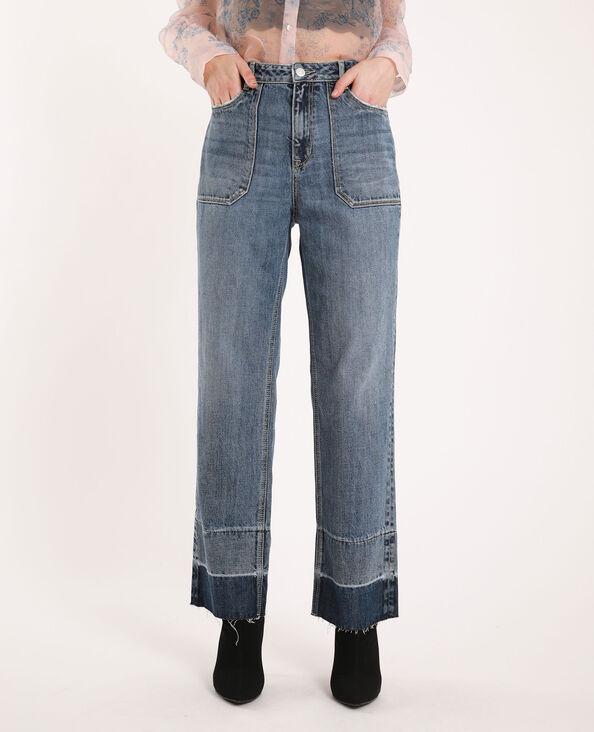 Straight-fit jeans met contrasterend detail denimblauw
