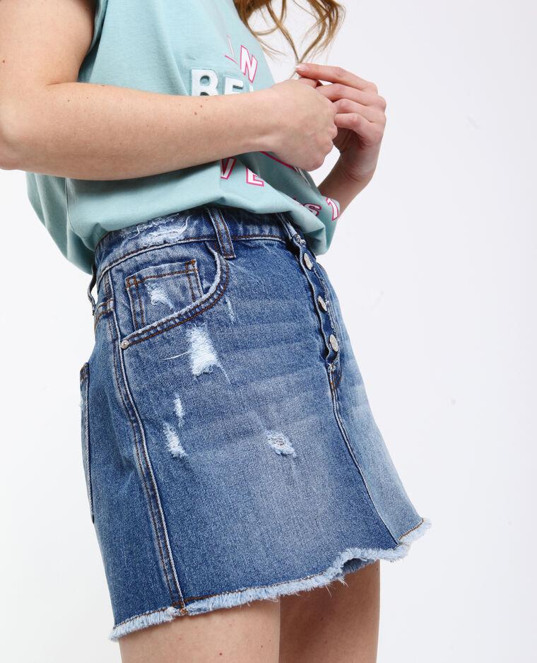 Jupe short en jean bleu