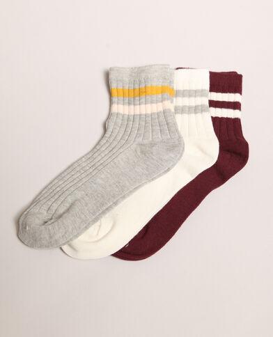 Set van gestreepte sokken grijs