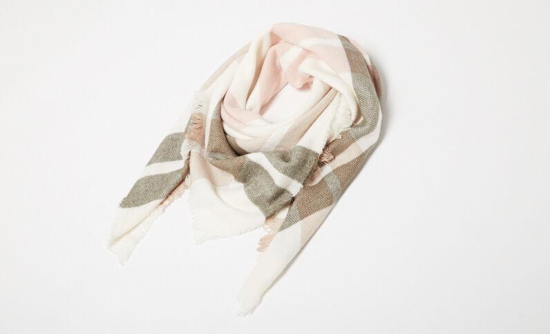 Lange sjaal met ruitjes wit