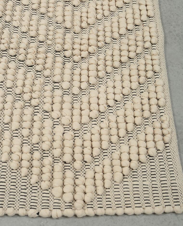 tapis coton boules blanc cass - Tapis Coton
