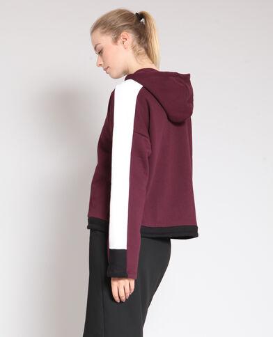 Sportieve sweater met kap bordeauxrood