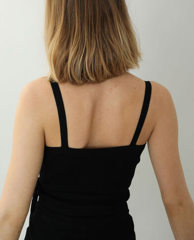 Top cache-cœur tricot noir - Pimkie
