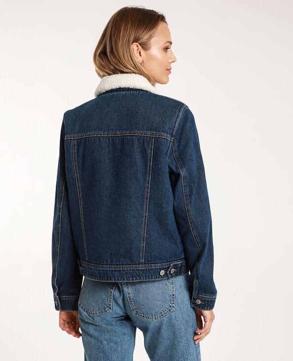 Gevoerd jeansjasje donkerblauw