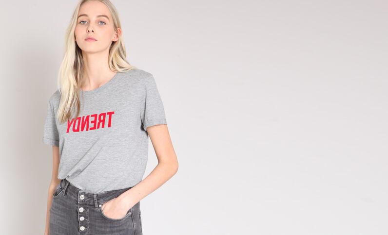 Bedrukt T-shirt grijs
