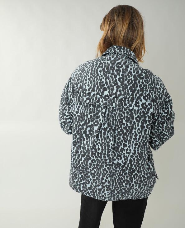Oversized jeans overhemd met luipaardprint blauw - Pimkie