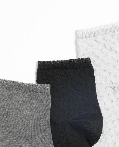 Set van 3 paar lage sokken lichtgrijs gemêleerd