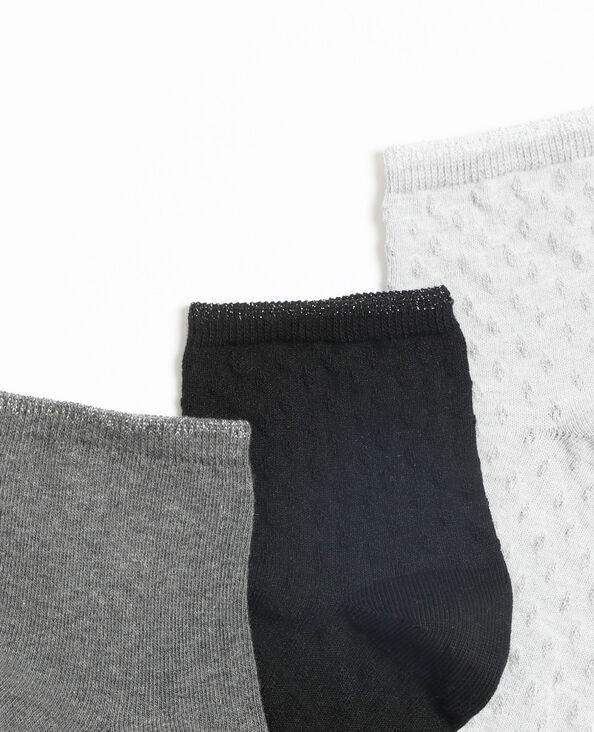 Lot de 3 paires de chaussettes basses gris clair chiné
