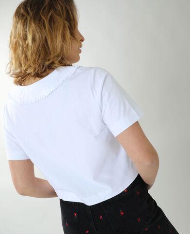 T-shirt met groot Peter Pan-kraagje wit - Pimkie
