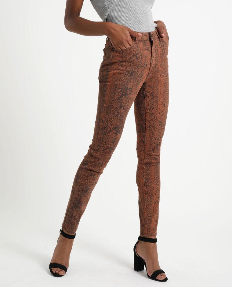 Pantalon skinny imprimé marron