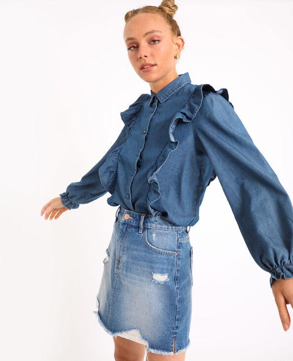 Chemise à volants bleu
