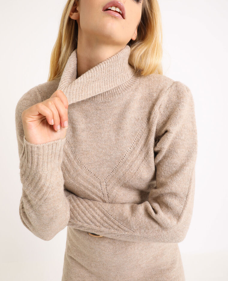 Robe pull col roulé beige