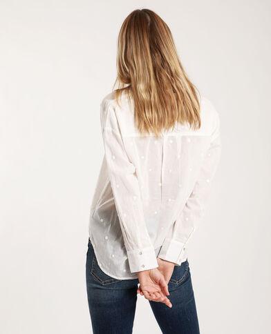 Hemd met motieven gebroken wit