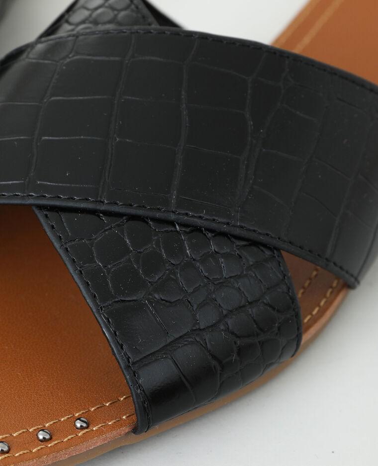 Instappers met krokodilmotief zwart - Pimkie