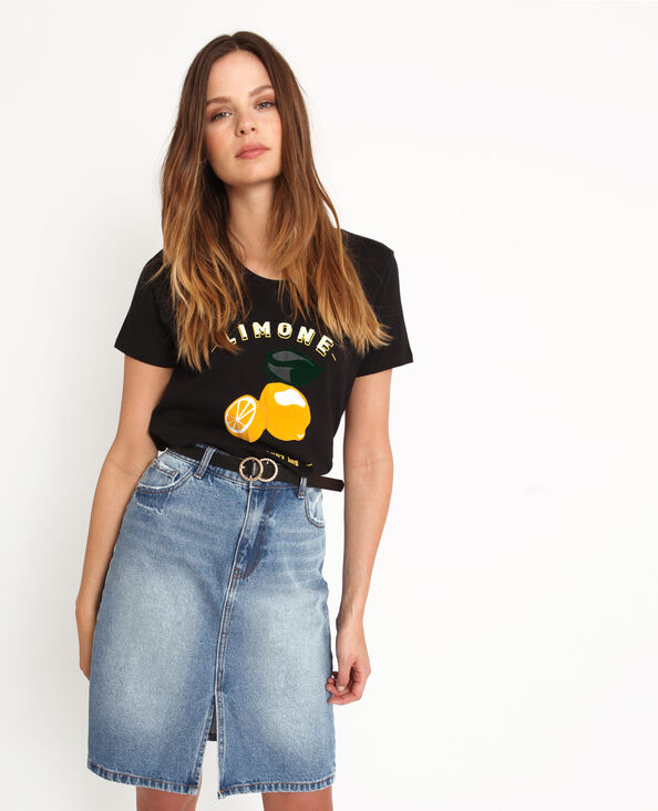 Bedrukt T-shirt zwart
