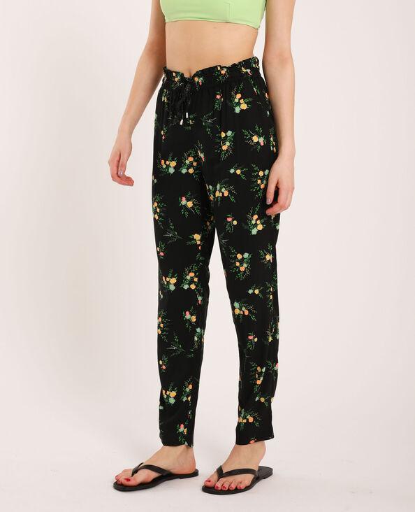 Soepelvallende broek met bloemenprint zwart
