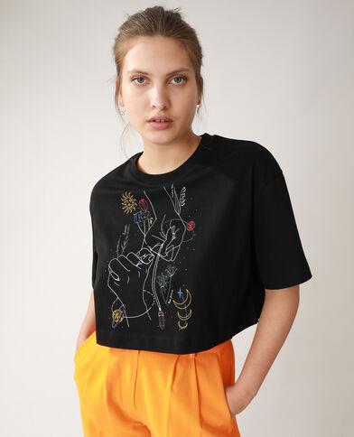 Cropped T-shirt met motiefjes van handen en bloemen zwart - Pimkie