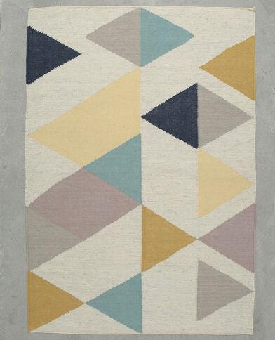 Grand tapis multicolore et silver corail