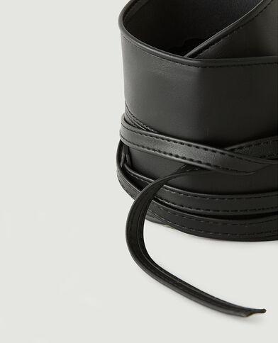 Ceinture large à nouer en simili cuir noir - Pimkie