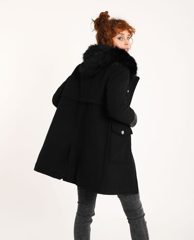 Rechte jas met kap van nepbont zwart