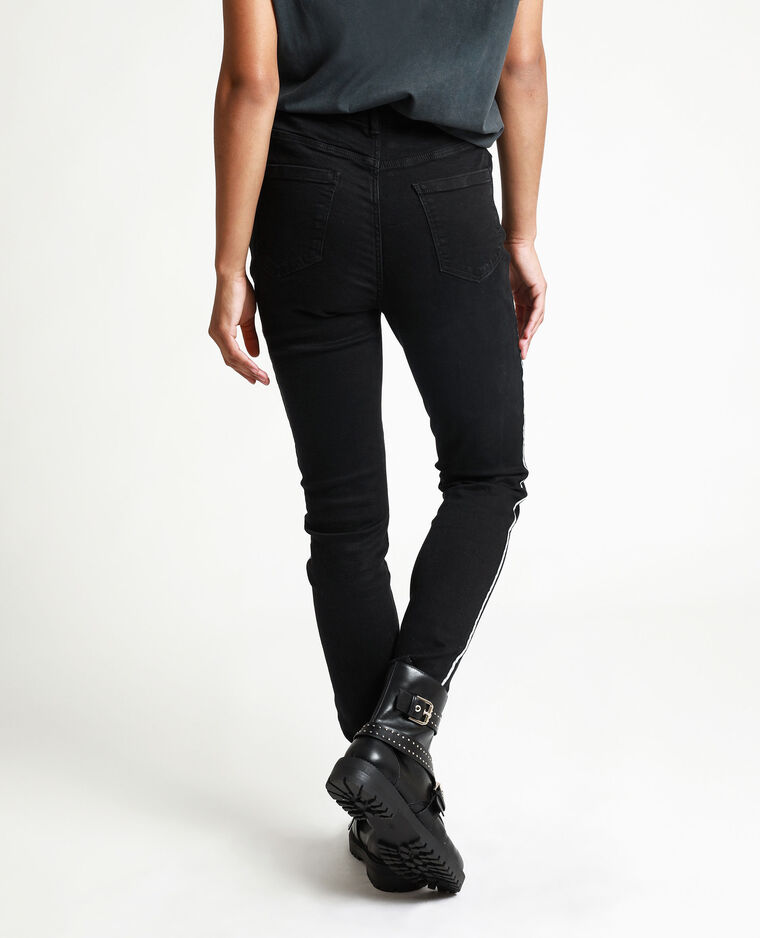 Skinny jeans met brede strepen zwart