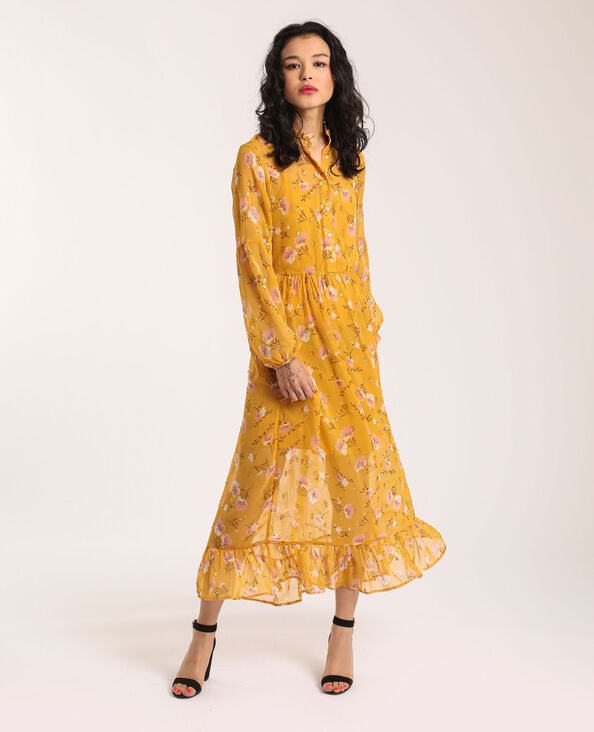 Lange jurk geel