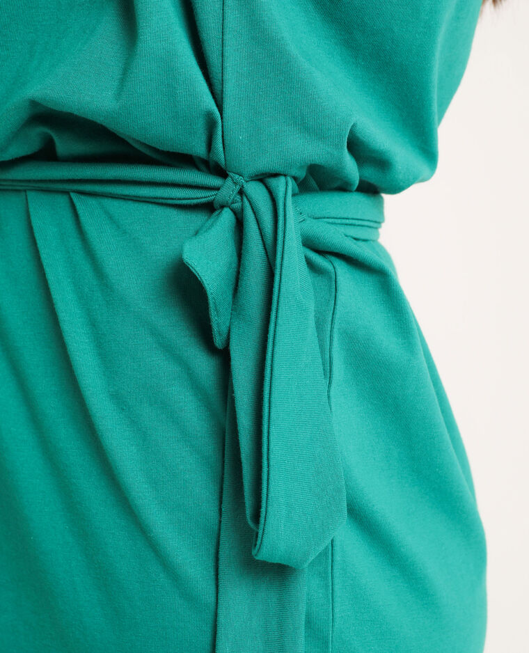 Robe ceinturée en matière recyclée vert