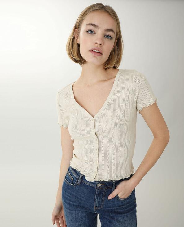Shirt met knopen kastanjebruin - Pimkie