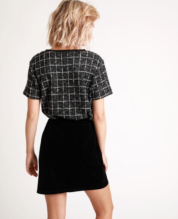 T-shirt van tweed zwart