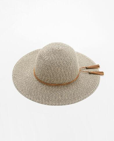 Hoed van gemengd stro geweven beige