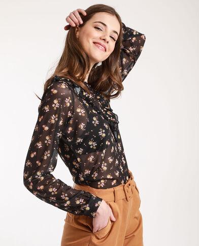 T-shirt van nettricot met bloemenprint zwart