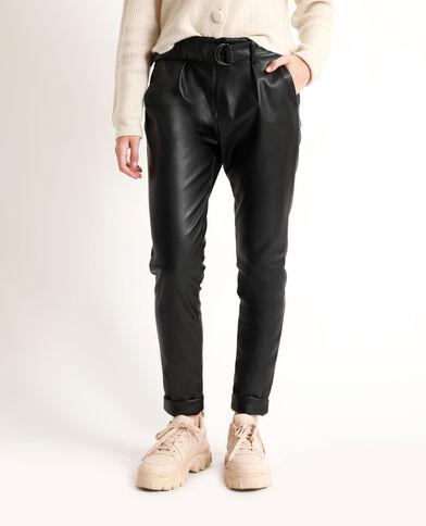 - Imitatieleren broek. zwart