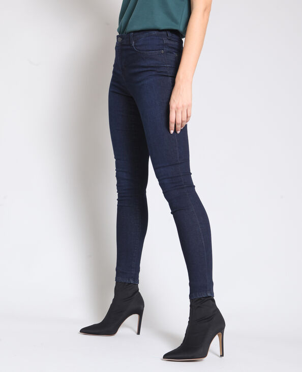 Jean skinny taille moyenne bleu foncé