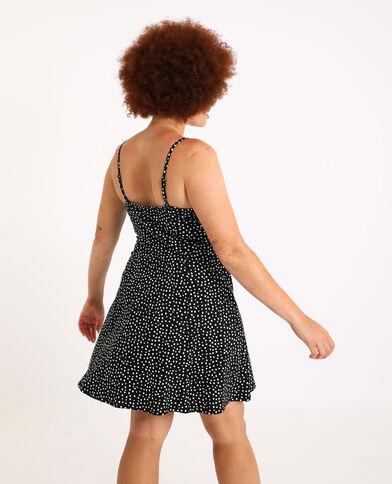 Korte jurk met stippen zwart