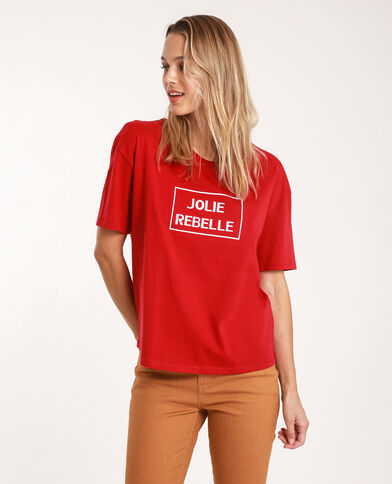 T-shirt à message rouge