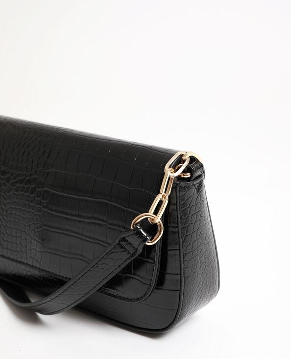Handtas met lak en kroko-effect zwart