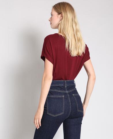 T-shirt met V-hals bordeauxrood